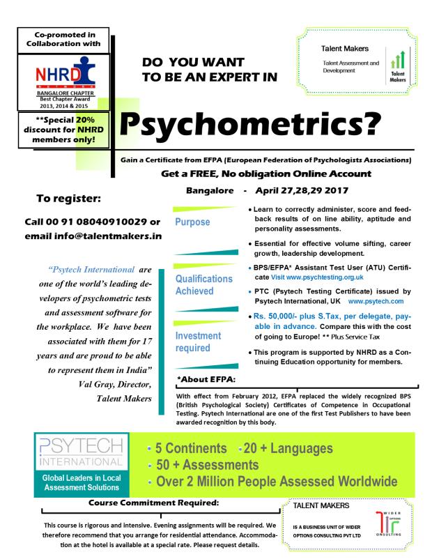 International Certificate in Psychometrics - April 2017